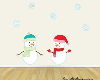 Snowman Wall Stickers, Christmas Snowman Wall Decals