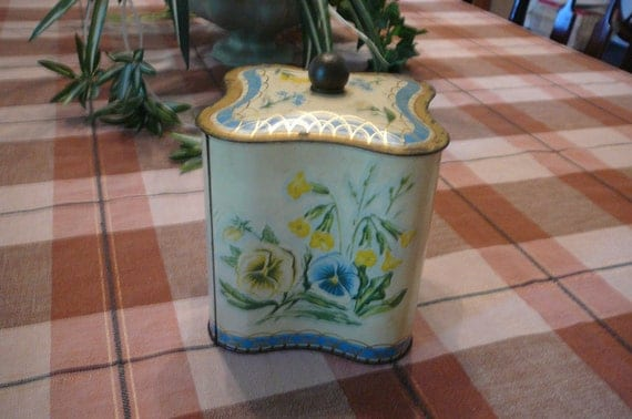 Antique  biscuit  tin with flowers, Pansy, unusual shape tin