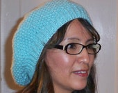 Slouchy Beanie Tam Beret Hat Hand Knit Winter Ski Fashion Women Turquoise Blue