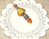Beaded hat pin women heart golden glow amber orange gold lamp glass heart Victorian stick scarf accent fall colors Swarovski TAGT tenx