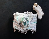 Reserved for Ruth-vintage lace textile cuff, ecofriendly jewelry, recycled, upcycled accessory, hand sewn