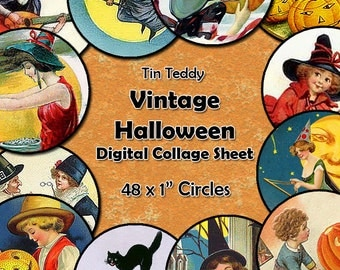 Vintage Halloween Digital Collage Sheet  - 1 Inch Circles x 48  - Perfect for Jewelry, Bottle Caps etc Pumpkins, Witches Halloween Circles