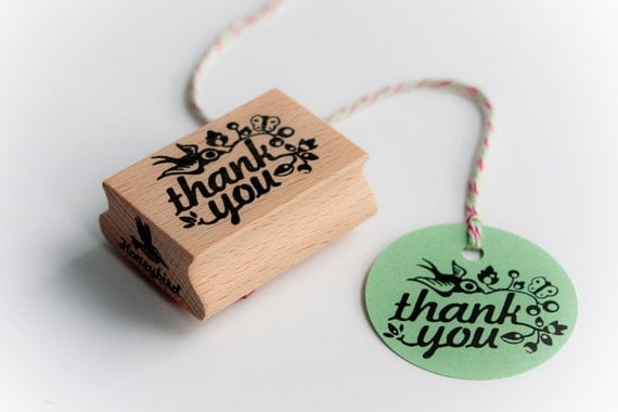 Thank you rubber stamp with cute bird