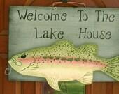 Single burlap fish sign for door or wall