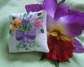 Flower Bouquet Mini Pillow with Lavender Bow