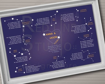 Wedding seating chart. Constellation theme. Table order.