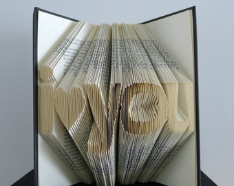 Unique Boyfriend / Girlfriend Gift - Paper Anniversary - Folded Book Sculpture - Wedding Present - Altered Book - Recycled Book