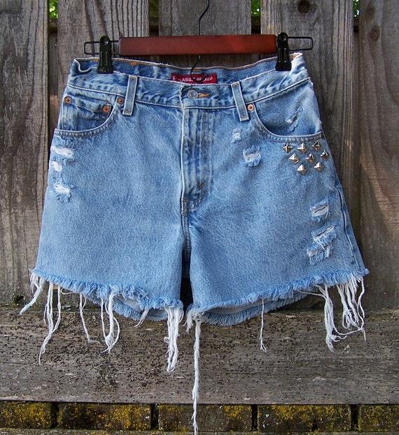 "Vintage LEVIS 550 shorts high waisted light blue festival Bohemian cut offs distressed studded 28"" waist"