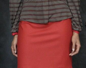 Red Skirt, Mini Skirt, Short Skirt, Red Mini Skirt, Red Pencil Skirt, Wool Skirt, Short Pencil Skirt w/ Quilt-Stitch Waist in Stretch