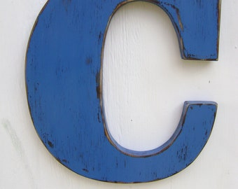 wood letter c shabby chic rustic wooden letters 12 tall painted tue blue great weddinghomecottagecabinnursery decor