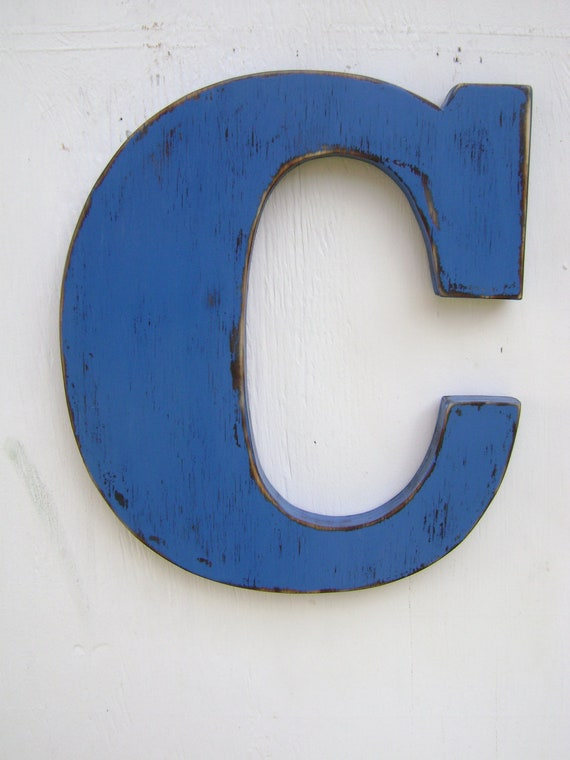 wood letter C shabby chic rustic wooden letters 12' tall painted Tue Blue, great wedding,home,cottage,cabin,nursery decor