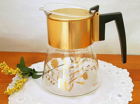 Vintage David Douglas Mid Century Modern Coffeepot or teapot, Flameproof, 1960's, Retro, Gold Wheat design