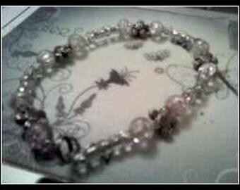 Sterling Silver Pink Beaded Bracelet