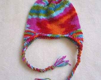 Hand Knitted Colorful Beanie with Ear Flaps. Girl Beanies. Fall and Winter Hats for Girls. Children's Beanies.