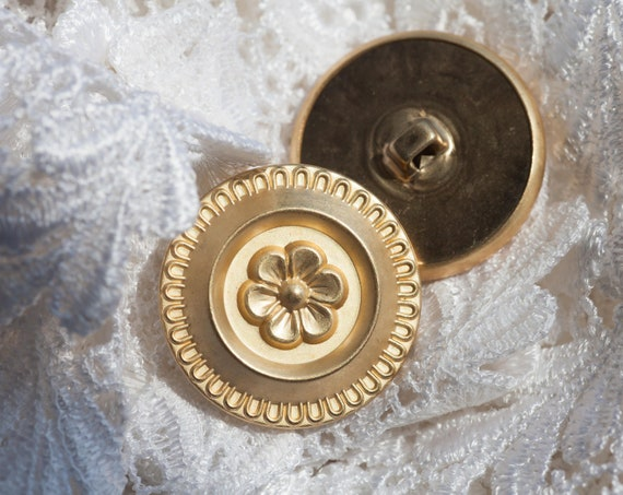 10 Vintage, Round, Gold Tone Metal Shank Button Collection, with a Matte Finish, and Central Floral Design.  Item 0426
