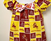ASU - Arizona State University - Girls Peasant Shirt Top and  Headband -  SunDevils - Sparky - Maroon and Gold