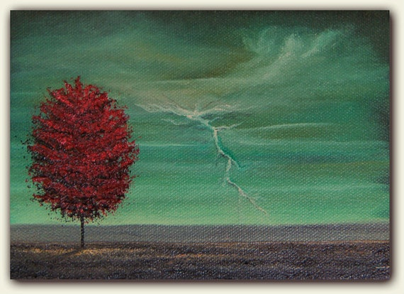 Original Stormy Sky Painting, Stormscape Oil Painting with Green Sky and Red Tree, Lightning Art, 5 x 7 x 1.5, Lightning Storm
