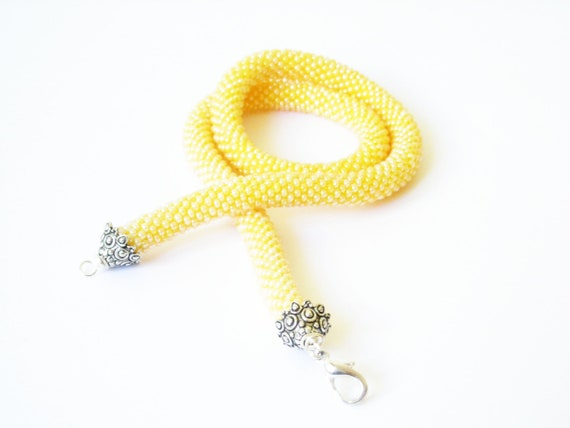 Yellow Necklace/Rope Necklace/Beaded Choker/Pastel Necklace/Crocheted Necklace