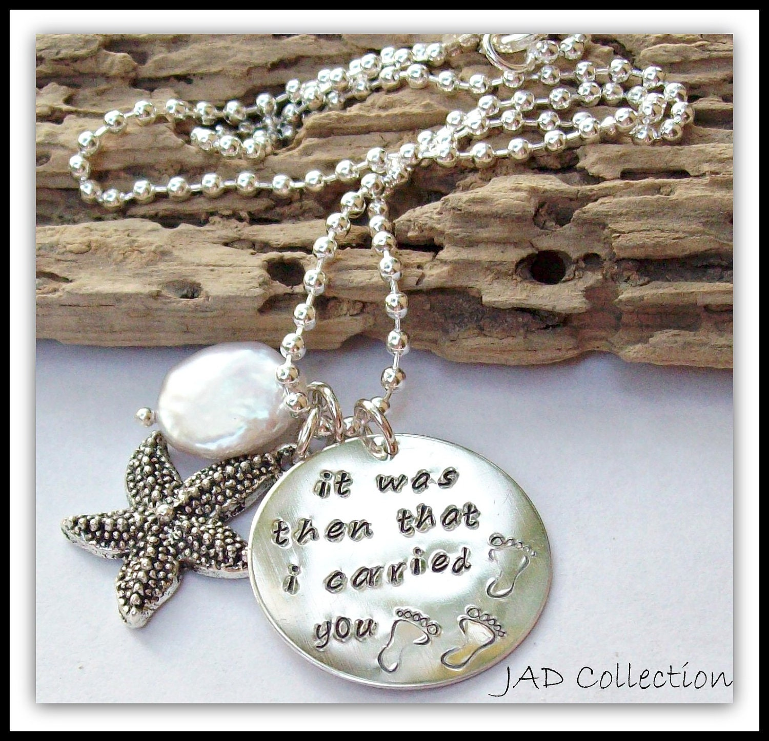 hand stamped footprints in the sand necklace personalized it