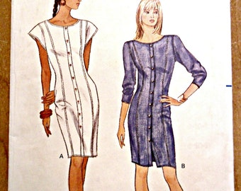 Misses Straight Semi Fitted Shirtwaist Dress Sewing Pattern Fast and Easy Butterick 6187 Size 8 10 12
