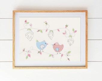 Baby Girl Bird Nursery Art  - Bird Nursery Decor, Pink, Blue, and Green, Cute Baby Nursery Pictures