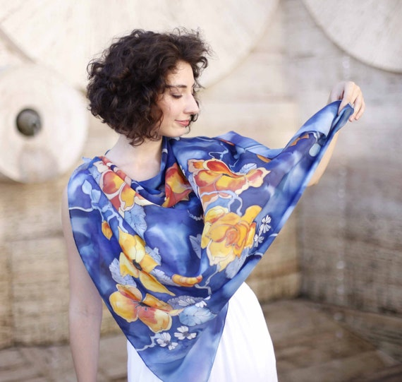Luxury  gift for her. Hand painted natural silk shawl. Bright  yellow, orange and blue colors. Made to order.