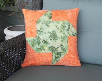 Sea Turtle Dance Quilted Pillow Cover