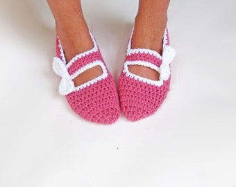 Crochet Mary Jane Slippers with Bow Accent, Handmade Slippers, House Shoes, You pick the color