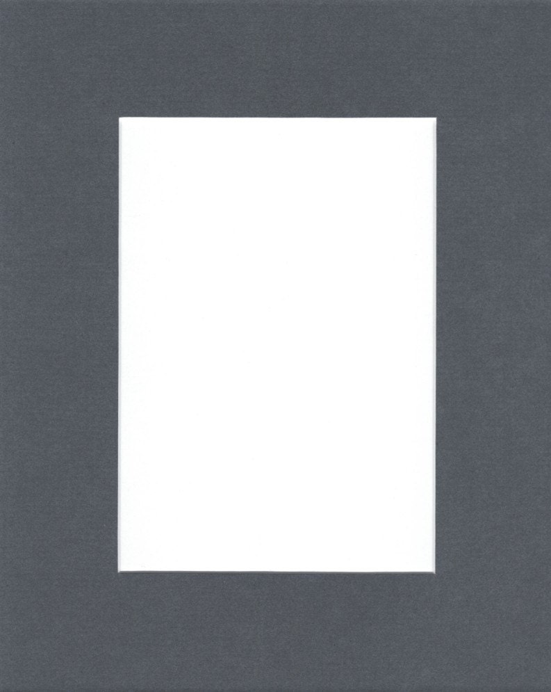 Package Of 5 18x24 Slate Grey Picture Mats With White Core