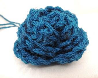 Dark Aqua Blue Crocheted Flower Bud