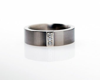 Calanthe Ring with Diamonds in Palladium, mens diamond ring, men palladium band, wedding band, commitment ring, diamond, palladium ring,