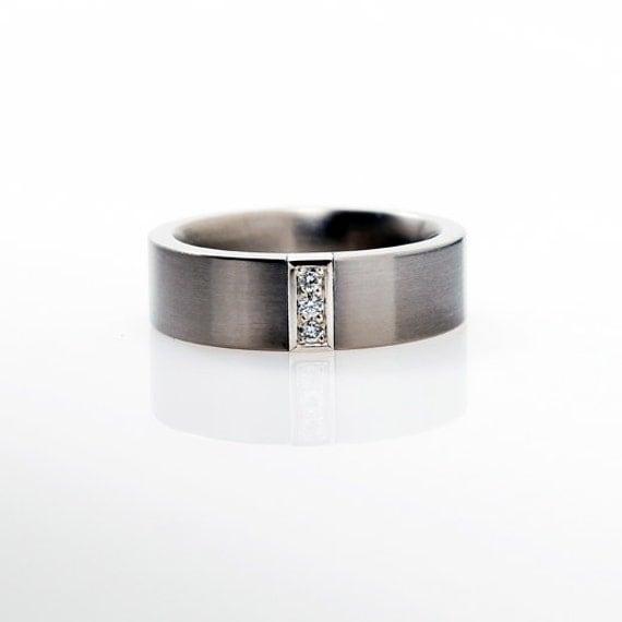 Palladium wedding band mens diamond ring men palladium band