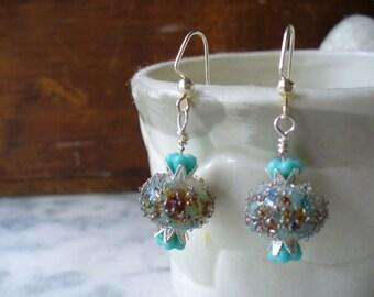 Ocean Sparkle Dangle Earrings, Beach Cottage Style, Silver Jewelry, Womens Jewelry, lampwork Beads, Sparkle Earrings, Turquoise Bell Flower