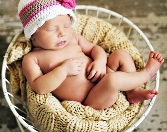 Newborn Baby Girl Hat Newborn Baby Hat Newborn Hat Baby Girl Clothes Crochet Flower Hat Flapper Beanie Flapper Hat White Baby Hat Pink Khaki
