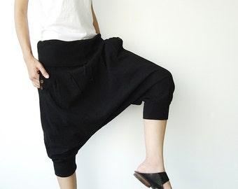 NO.43 Black  Cotton Cocoon Shorts, Casual Harem Pants