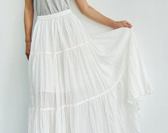 NO.5 Off-White Cotton Gauze, Hippie Gypsy Boho Tiered Long Peasant Skirt