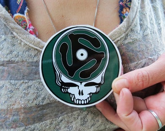Steal Your Face Record Spindle Grateful Dead Vintage Blue Green Teal Series High Quality Vinyl Sticker