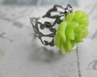 Vintage Look Gunmetal Filigree and Lime Green Rose Adjustable Ring
