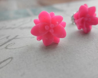 Hot Pink Lily Flower Post Stud Earrings