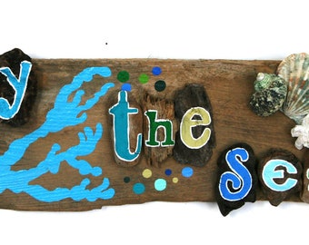 By the Sea Driftwood Plaque with Bright Blue Coral and Yellow, Teal, Blue and Green Bubbles (Made to Order)
