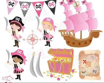Pirate Girls Clip Art Set