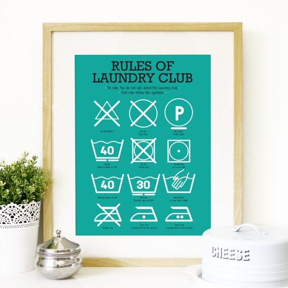 Kitchen Laundry Club Poster Art with laundry symbols explained Mid Century Modern decor Poster Art Kitchen art wall in teal - A3 size print