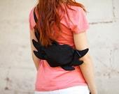 Black Belt Bag Flying Heart Hipster Bag Hip Bag Heart Black Bag Cute Bag Boho Bag Small Bag Party Bag Valentines Day Gift Idea Romantic Bag