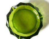 Green Faceted Glass Cigar Ashtray