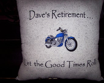 Personalized Motorcycle Retirement Pillow with Autograph Back