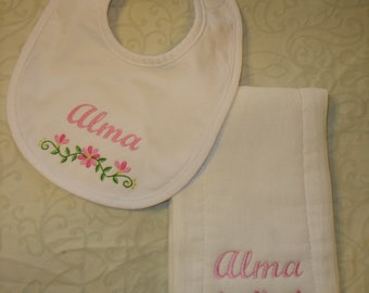 Personalized embroidered floral border baby girl bib and burp cloth baby shower gift set