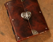 "Heart Journal - Brown Bison Leather -  5""x6"" - Notebook - Diary - Sketchbook"
