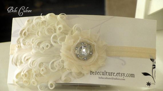 Ivory feather headband  Baby girls curled feather nagorie shabby chic headband. Dedication baptism wedding