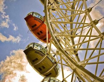 London Eye Pop of Red-London,England-Fine Art Photography-Multiple Sizes Available,Travel,London,London Eye, Ferris Wheel, Red