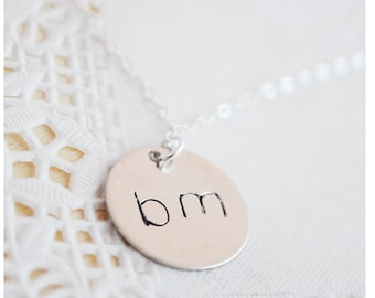 Sterling Silver Initial Necklace - Hand Stamped Customized Jewelry - Personalized Jewelry - Bridesmaid Necklace